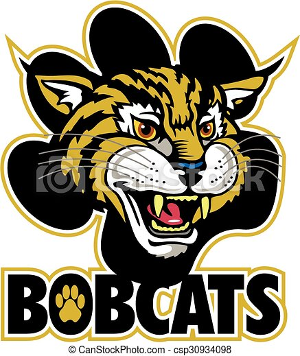 bobcats mascot team design with mascot head and large paw print rh canstockphoto com Bobcat Clip Art Black and White bobcat mascot clipart free
