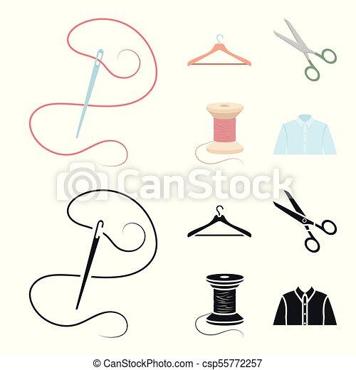 Bobine Style Ensemble Cintre Dessin Animé Icônes Scissors Atelier Aiguille Symbole Fil Web Collection Vecteur Illustration Stockage
