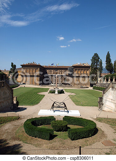 Boboli Gardens Amphitheatre and palazzo Pitti - Florence, Tuscany - csp8306011