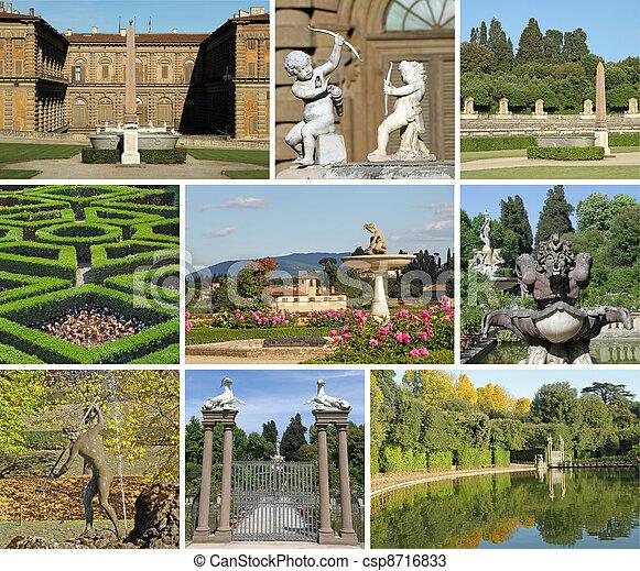 Boboli Gardens collage  - csp8716833