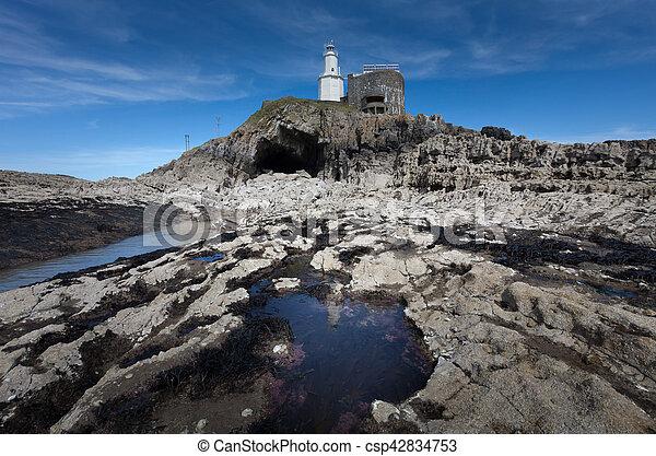 Bob's Cave at Mumbles Lighthouse - csp42834753