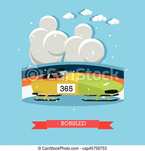 Bobsled concept vector illustration in flat style - csp45759753
