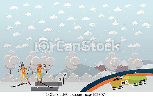 Bobsleigh, biathlon concept vector illustration in flat style - csp45263074