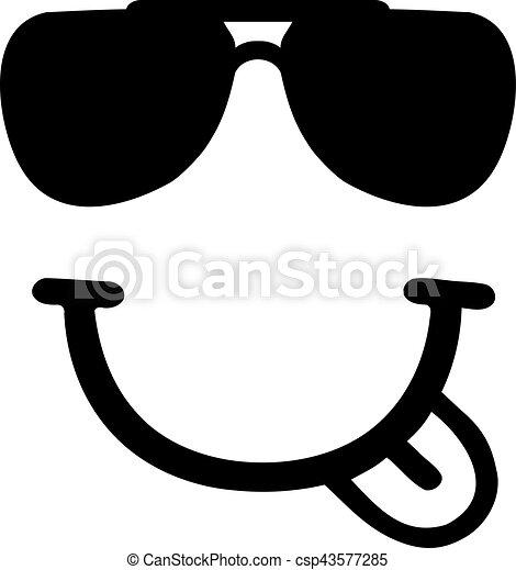 Smiley con la boca sonriente y las gafas de sol - csp43577285