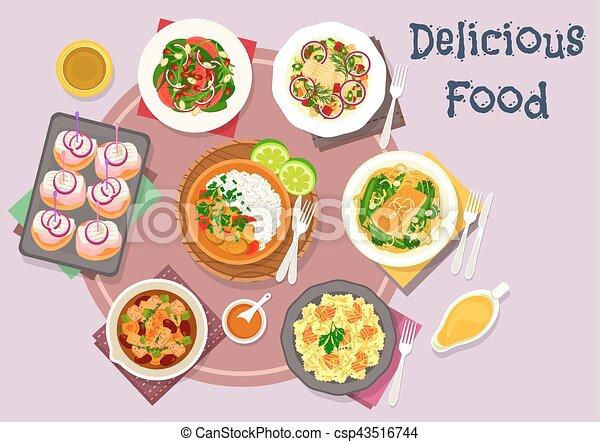 Bocado Carne Platos Pez Caliente Ensaladas Icono Curry