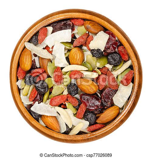 bocado, superfood, tazón de madera, mezcla - csp77026089