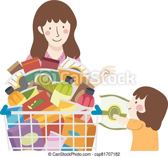 bocados, niño, ilustración, mamá, niña, tienda de comestibles - csp81707182