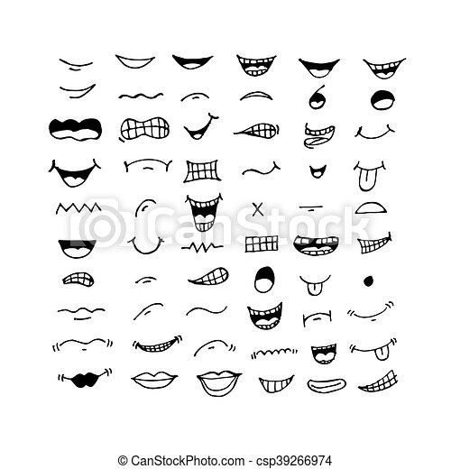 Bocca Disegno Cartone Animato Illustrazione Icona