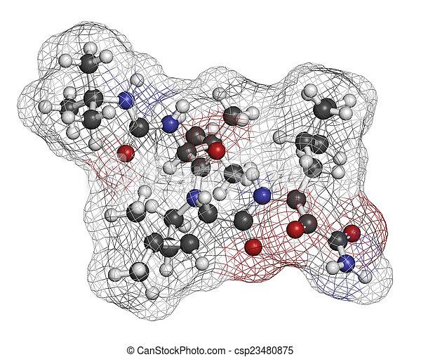 Boceprevir hepatitis C virus (HCV) drug molecule. Atoms are repr - csp23480875