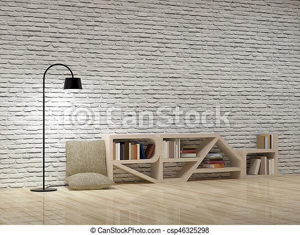 Fußboden Aus Ziegelsteinen ~ Boden hölzern ziegelsteine lampe bücherregal wand. boden lesen