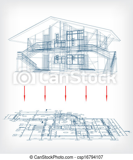 Boden, Haus, Stilisiert, Vektor, Plan., Modell   Csp16794107