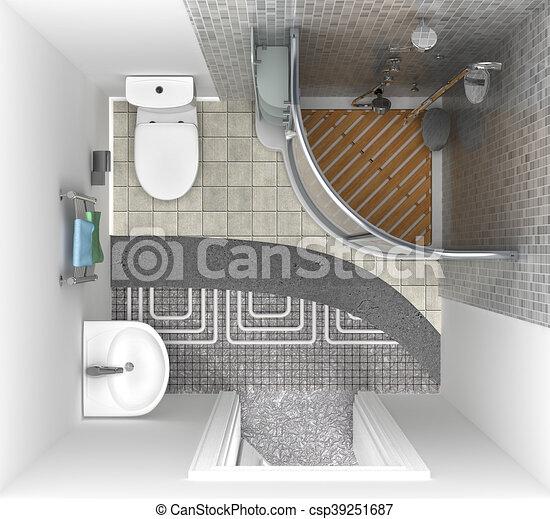 Boden Oberseite Heizung Abbildung System Ansicht Badezimmer 3d