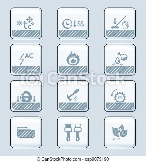 Boden, reihe, hülle, brille, technologie, | Eigenschaften,... Vektor ...