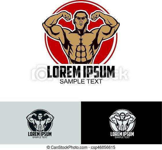 Body builder logo template - csp46856615