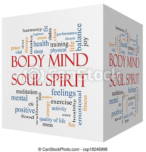 Body Mind Soul Spirit 3D cube Word Cloud Concept - csp18246998