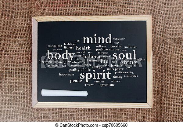 Body Mind Soul Spirit, Motivational Words Quotes Concept - csp70605660