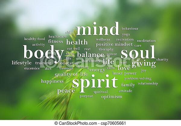 Body Mind Soul Spirit, Motivational Words Quotes Concept - csp70605661