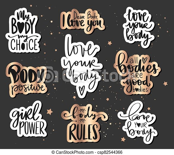 Body Positive Feminism Sticker Collection Love Your Body Girl Power My Body My Rules Activists Slogan Body Positive
