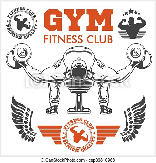 Bodybuilder and Bodybuilding Fitness logos emblems. Sports icons.  Isolated on white. - csp33810968