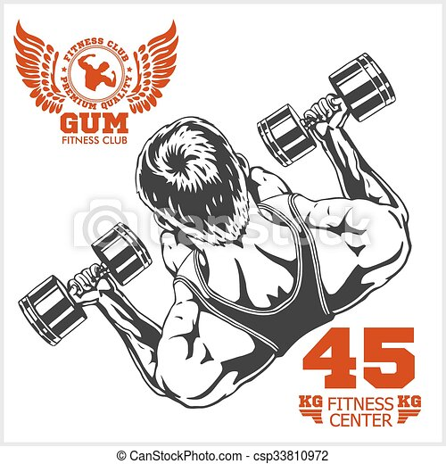 Bodybuilder and Bodybuilding Fitness logos emblems. Sports icons.  Isolated on white. - csp33810972