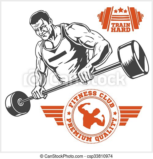 Bodybuilder and Bodybuilding Fitness logos emblems. Sports icons.  Isolated on white. - csp33810974