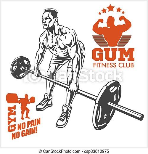 bodybuilder and bodybuilding fitness logos emblems sports icons rh canstockphoto com bodybuilding log software bodybuilding logo maker