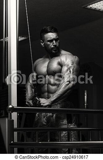 Bodybuilder Exercising Triceps - csp24910617