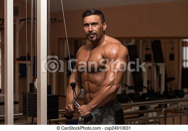 Bodybuilder Exercising Triceps - csp24910631