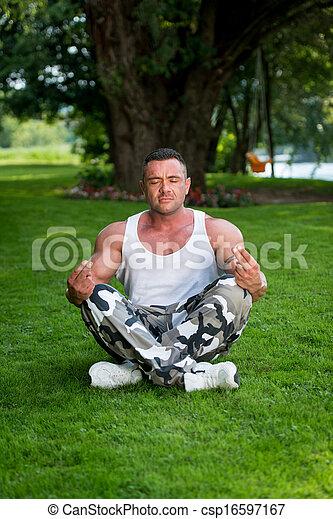 Bodybuilder Meditating - csp16597167