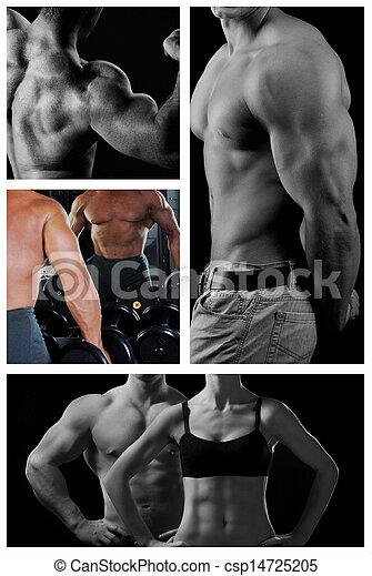Bodybuilder posing on the black background - csp14725205