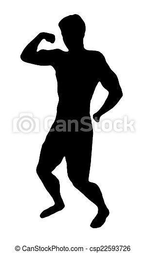 Bodybuilder silhouette on white - csp22593726