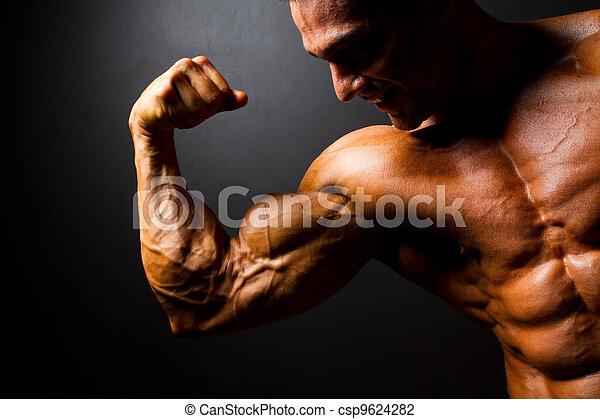 bodybuilder, sterke, het poseren - csp9624282