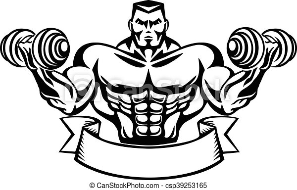 Line Art Vector Design : Bodybuilder t shirt design clip art vector search drawings and