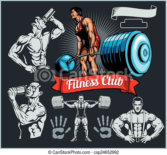 Bodybuilder with a barbell - vector set - csp24652992