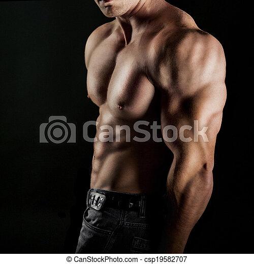 bodybuilder, zijn, het tonen, spierballen - csp19582707