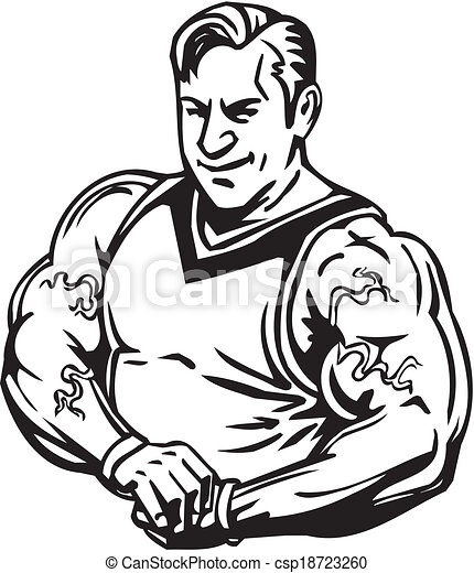 Bodybuilding and Powerlifting - vector. - csp18723260