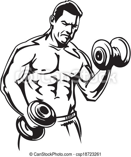 Bodybuilding and Powerlifting - vector. - csp18723261