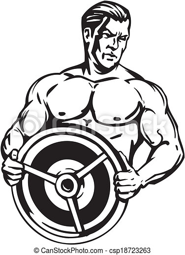 Bodybuilding and Powerlifting - vector. - csp18723263