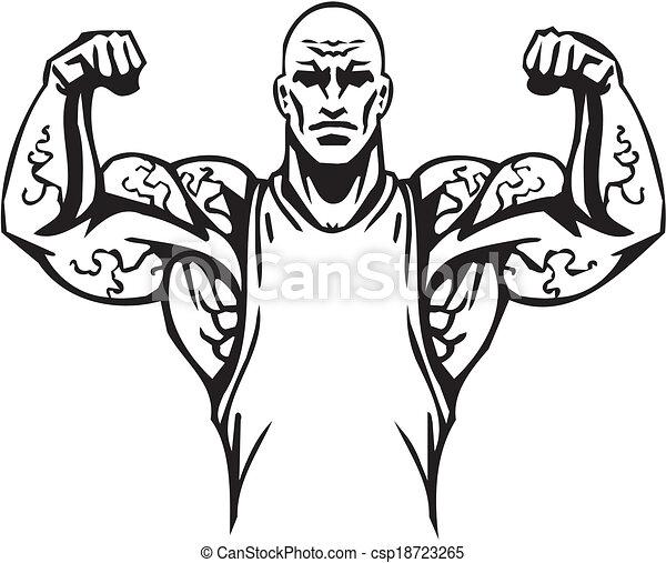 Bodybuilding and Powerlifting - vector. - csp18723265