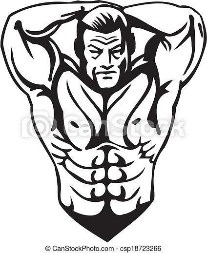 Bodybuilding and Powerlifting - vector. - csp18723266