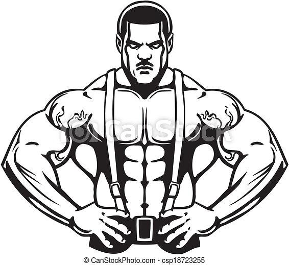 Bodybuilding and Powerlifting - vector. - csp18723255