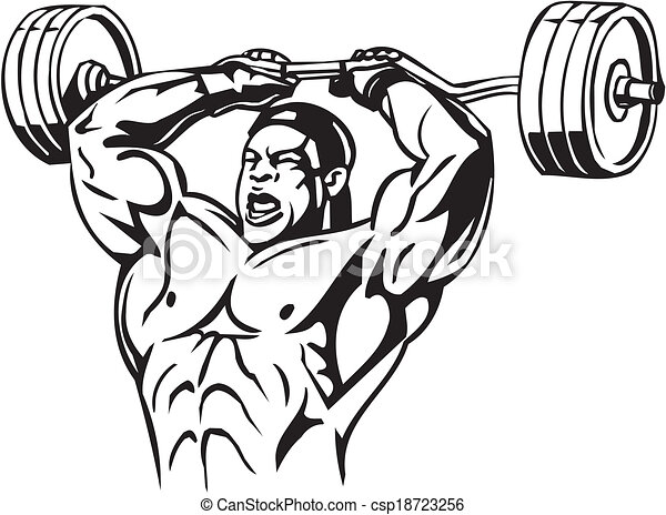 Bodybuilding and Powerlifting - vector. - csp18723256