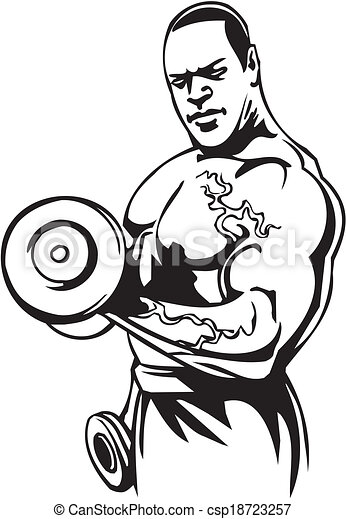Bodybuilding and Powerlifting - vector. - csp18723257