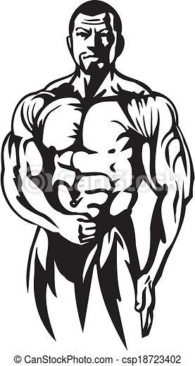 Bodybuilding and Powerlifting - vector. - csp18723402