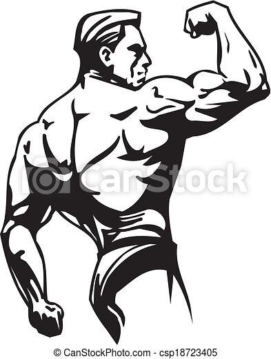 Bodybuilding and Powerlifting - vector. - csp18723405