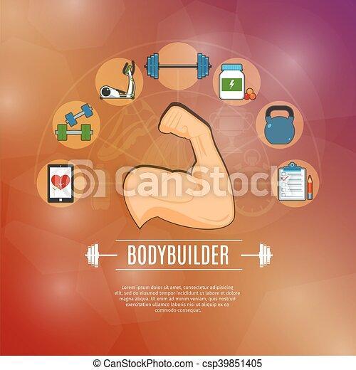 Bodybuilding Concept Icons Set - csp39851405