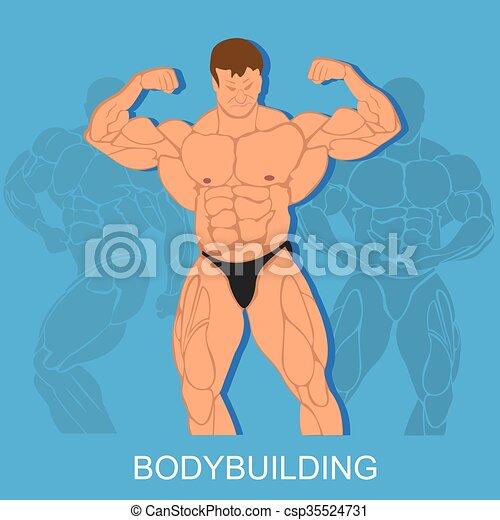 Bodybuilding concept, vector  - csp35524731