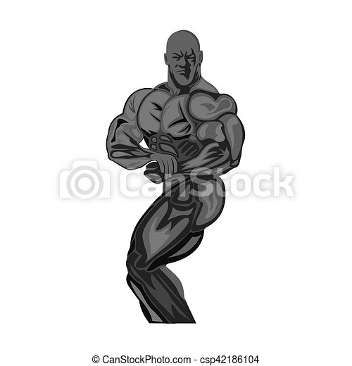 bodybuilding, fitness concept, vector illustration - csp42186104