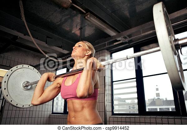 bodybuilding, forte, femininas - csp9914452