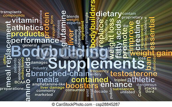 bodybuilding, glowing, conceito, fundo, suplementos - csp28845287
